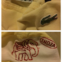 Sale!! Vintage Womens Lacoste Chemise yellow shirt India Elephant made in France size 42 Free shipping within USA