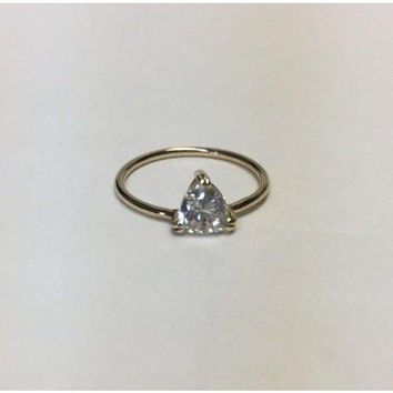 Luxinelle Minimalist 0.73 Carat Trillion Cut Diamond on Simple Band Ring - 14K Yellow Gold by Luxinelle® Jewelry