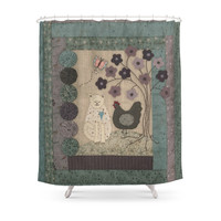 Society6 The Cat And The Hen Shower Curtain