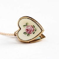 Vintage 12k Yellow Gold Filled Guilloche Enamel Flower Heart Locket Necklace - 1940s Pink Rose on Off White Background Floral 40s Jewelry