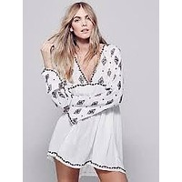 Bell Sleeve Top Boho Diamond Embroidery Long White Tunic For Free Spirited People Small Medium Or Large