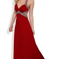Long Prom Dress with Halter Straps and Cut Out Sides with Stone Trim