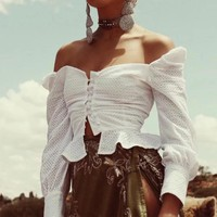 Sexy White Embroidery Blouse Womens Tops and Blouses Off Shoulder Hollow Out Shirts Autumn Long Sleeve female blouse