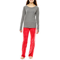 Flirtitude® Long-Sleeve Top and Pants Knit Pajama Set - JCPenney