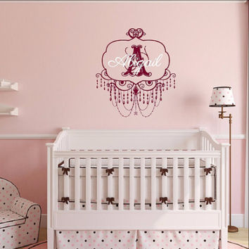 Personalized Monogram Chandelier Frame Style A with Name Nursery Vinyl Wall Decal 22508