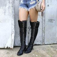 SIZE 5.5 Escape To The Valley Black Tall Over Knee Studded Riding Boots