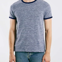 Blue Textured Ringer T-Shirt - Men's T-shirts & Tanks - Clothing