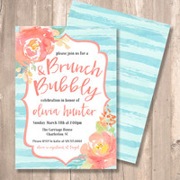 Brunch & Bubbly Bridal Shower Invitation -TWO SIDED- Watercolor, Blue, Coral, Blush - PRINTABLE - Digital File