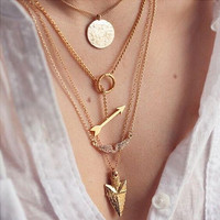 Diamond Angel Wings Arrow Triangular Multilayer Necklace