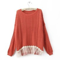 Red Long Sleeve Contrast Lace Hem Open Mesh Stitch Sweater - Designer Shoes|Bqueenshoes.com