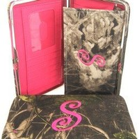 """Soft Camo Initial """" S """" Thick Flat Wallet Clutch Purse Hot Pink Camoflauge"""