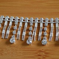 Rhinestone Tassel Lace Trim Silver Chain Belt Diamond Costume Accessories
