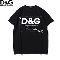 Dolce & Gabbana 2018 new letter print men's casual round neck short-sleeved T-shirt black