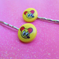 Yellow Cartoon Rat Bobby Pins - Yellow Anime Mouse Bobby Pins - Kitsch Kawaii Cute -  Hair Accessories