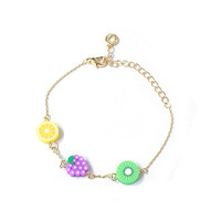 14K Gold plated chain bracelet with Sweet fruits, chain bracelets, cool summer vacation