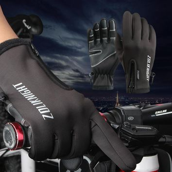 Winter Bicycle Gloves Cycling thermal gloves for men Windproof Warm Fleece Gloves bike  Anti-slip Water Resistant   mtb gloves