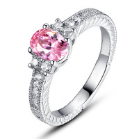 Sterling Silver Pink Oval and Clear Round Cubic Zirconia Engagement Ring