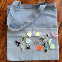 DENIM TOTE BAG + FREE PINS