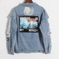 Vintage Destroyer Embroidery Letters Jeans Loose BF Back Patch Denim Jacket Coats Oversize  Harajuku Style Outerwear