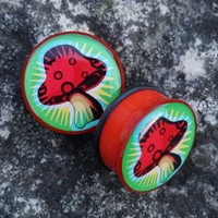 """Halftone acrylic mushroom plugs in 25mm, 1"""". Never worn, only ..."""