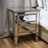 Christopher Knight Home Crawford Vintage Mirror 2-drawer End Table | Overstock.com Shopping - The Best Deals on Coffee, Sofa & End Tables