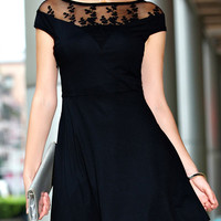Black Floral Mesh Embroidered Flare Dress