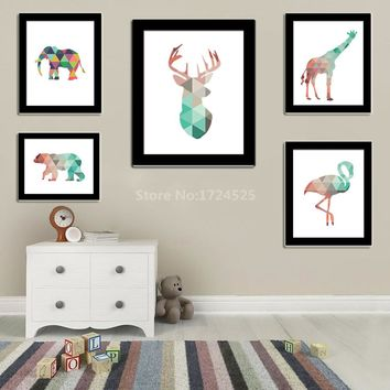 Funlife Geometric Coral Deer Giraffe Bear Elephant Animal Canvas Painting Print Poster Wall Art Picture For Baby Kids Home Decor
