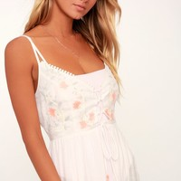 Sun Lover White Embroidered Lace-Up Maxi Swim Cover-Up