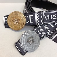Versace men's and women's printed letter metal buckle temperament belt