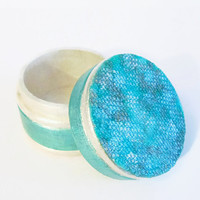 Wedding Ring Box hand painted in aqua and pearl white, decoupaged top, mini round wooden trinket box, fancy gift box, ringbearer box