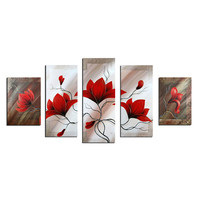 Red Blooming Beauty Canvas Wall Art Oil Painting