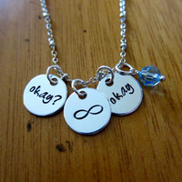 """The Fault in our Stars Inspired """"Okay? Okay"""" Necklace. Hazel and Augustus Infinity symbol. Silver colored & Swarovski Crystal. TFIOS"""