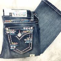 GRACE IN L.A TRIBAL TRACKS EASY BOOTCUT JEANS