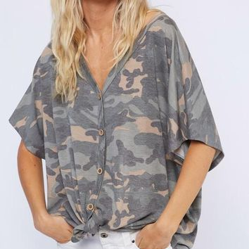 French Terry Front Knot Camo Top