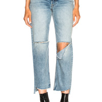 GRLFRND Helena High Rise Straight in All Cut Up | FWRD