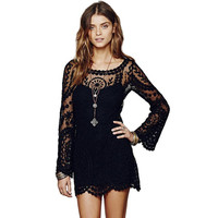 Bell Sleeve Crochet Floral Lace embroidery dress