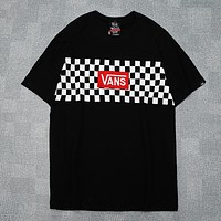 Vans Fashion New Embroidery Letter And Plaid Print Women Men Top T-Shirt Black