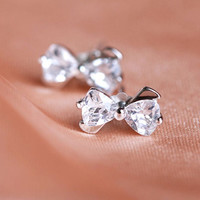 1 Pair Hot Chic 925 Sterling Silver Bow Bowknot Zircon Ear Studs Earrings Gift (With Thanksgiving&Christmas Gift Box)= 5612390529