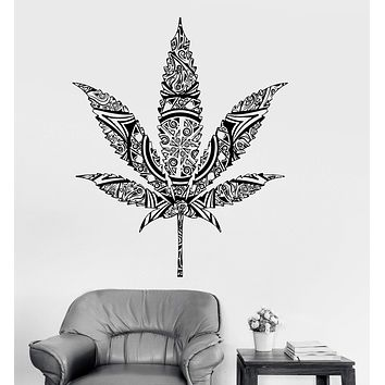 Vinyl Wall Decal Weed Cannabis Hemp Marijuana Rastafarian Stickers Unique Gift (ig3949)