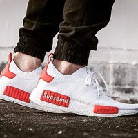 Best Online Sale Supreme Sup x Adidas NMD R1 White/Red Runner PK S79668 Boost Fashion Trending Sport Running Shoes Casual Shoes Sneakers
