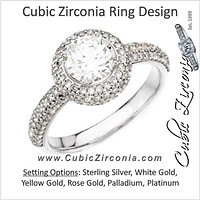 Cubic Zirconia Engagement Ring- The Gisel (1.62 Carat TCW Round Cut with Faux Pavé Halo and Accented Band)