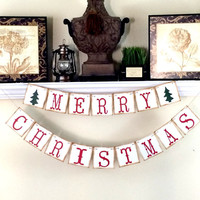 Christmas Decoration Merry Christmas Banner, Christmas Photo Prop, Christmas Sign, Holiday Photos, Christmas Garland