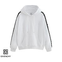 Givenchy casual couples long-sleeve hoodies are hot sellers with a side LOGO strip White