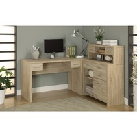 Natural Reclaimed Look L Shaped Home Office Desk