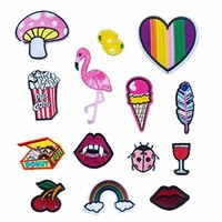 16pcs/lot Applique DIY Decoration Iron On Patch Set-Pills Pow Maple Leaves Love Heart Cactus Red Lips Ice Cream Pineapple Mushroom Twinkle Star Cheer Butterfly Patch