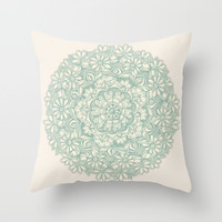 Sage Medallion with Butterflies & Daisy Chains Throw Pillow by Micklyn