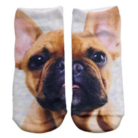 Brown Puppy Knit Ankle Socks