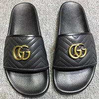 GUCCI New fashion leather flip flop slippers shoes Black