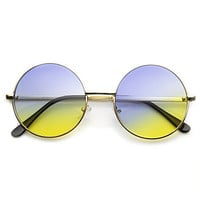 Retro Lennon Inspired Round Multi Color Rainbow Lens Sunglasses 9204