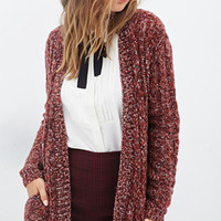 FOREVER 21 Marled Open-Front Cardigan Rust/Navy